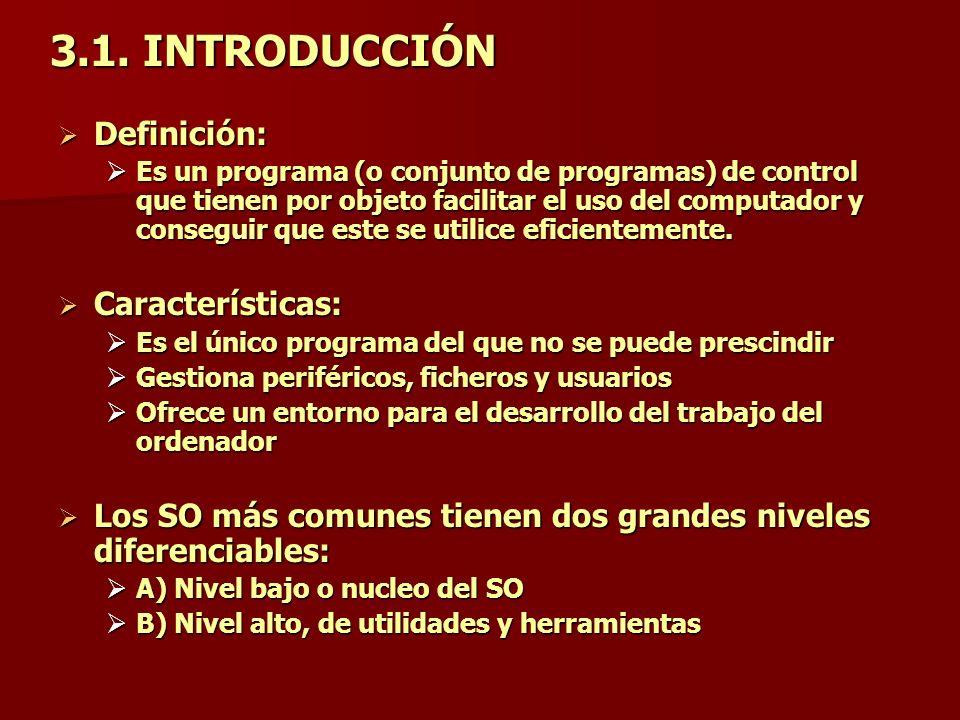 3.1. INTRODUCCIÓN Definición: Definición: Es un programa (o conjunto de programas) de control que tienen por objeto facilitar el uso del computador y
