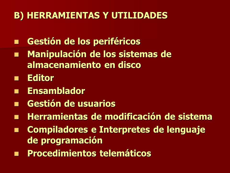 B) HERRAMIENTAS Y UTILIDADES Gestión de los periféricos Gestión de los periféricos Manipulación de los sistemas de almacenamiento en disco Manipulació