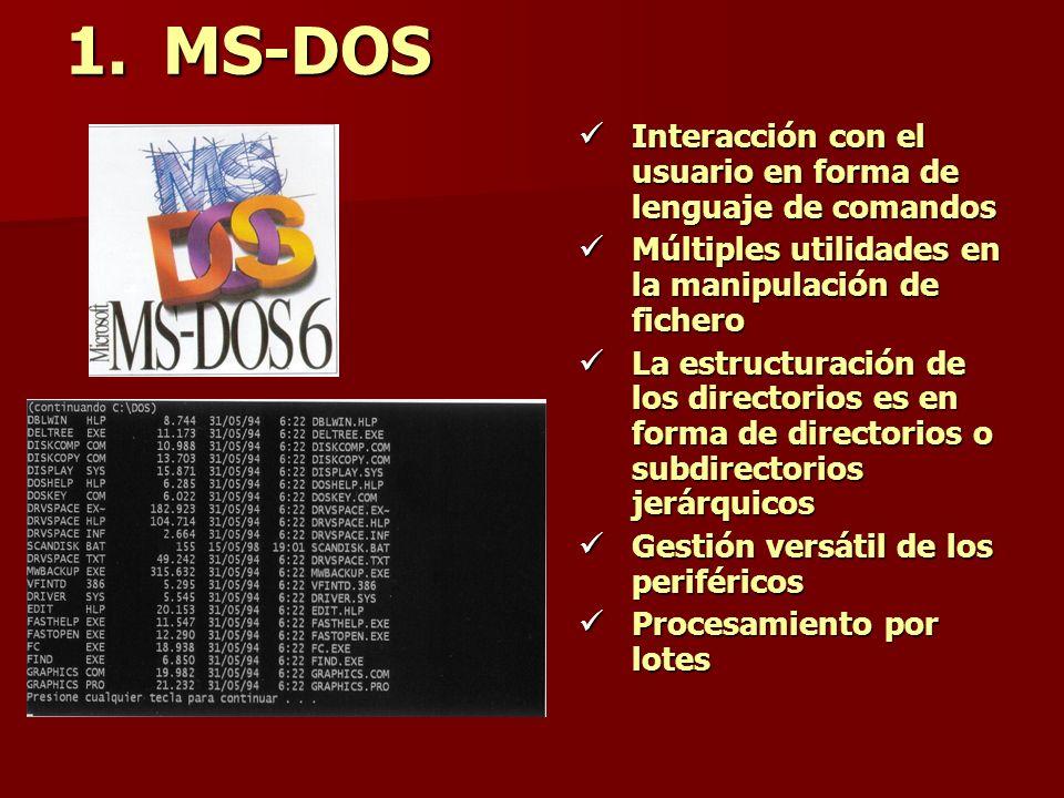 1.MS-DOS Interacción con el usuario en forma de lenguaje de comandos Múltiples utilidades en la manipulación de fichero La estructuración de los direc