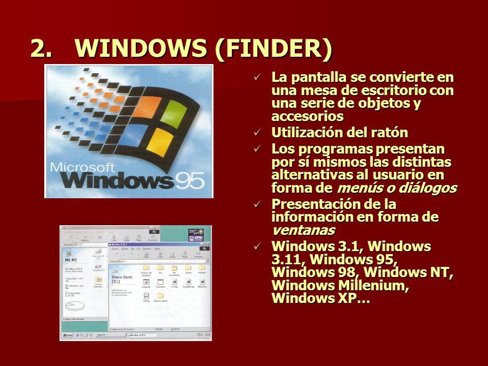 2.WINDOWS (FINDER) La pantalla se convierte en una mesa de escritorio con una serie de objetos y accesorios La pantalla se convierte en una mesa de es