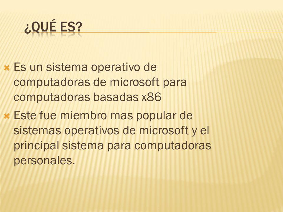 Es un sistema operativo de computadoras de microsoft para computadoras basadas x86 Este fue miembro mas popular de sistemas operativos de microsoft y el principal sistema para computadoras personales.