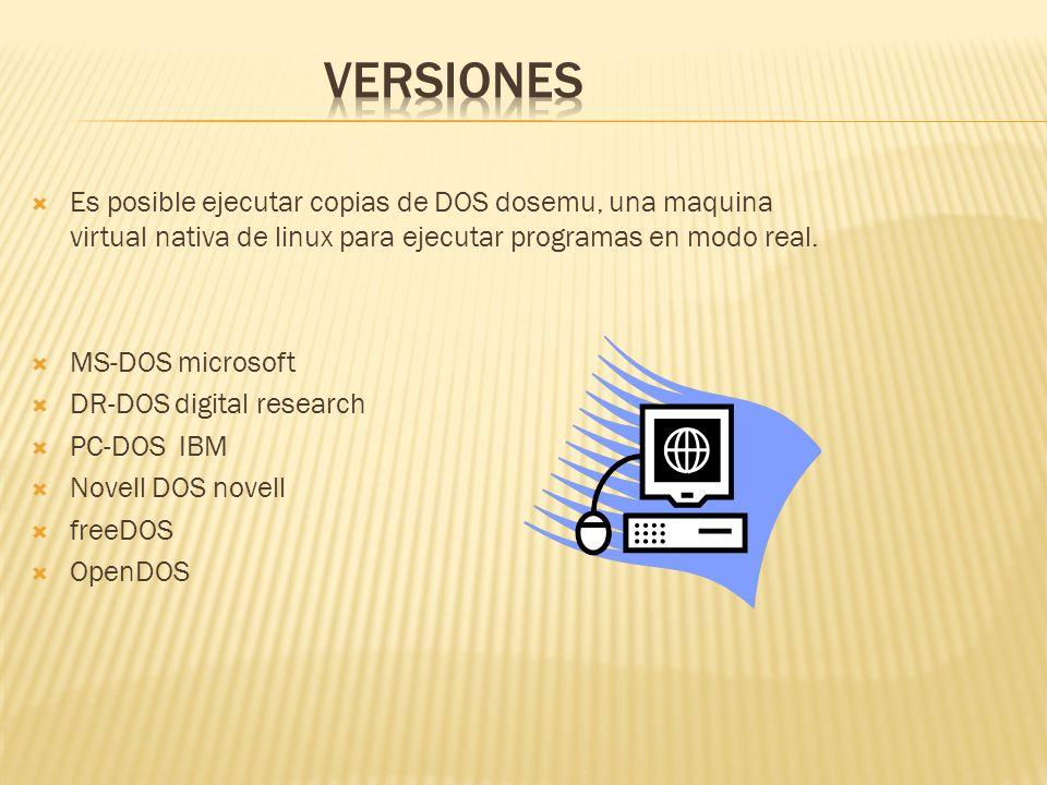 Es posible ejecutar copias de DOS dosemu, una maquina virtual nativa de linux para ejecutar programas en modo real.