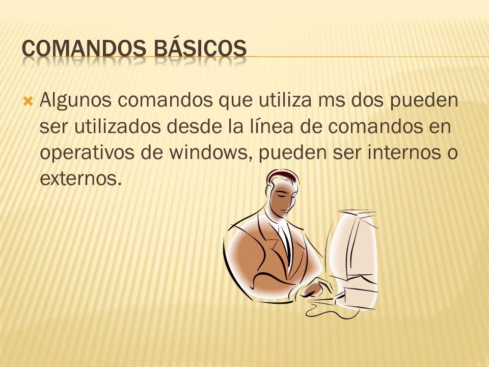 COMANDOS INTERNOS: DIR: lista los directorios y archivos de unidad o dirección.