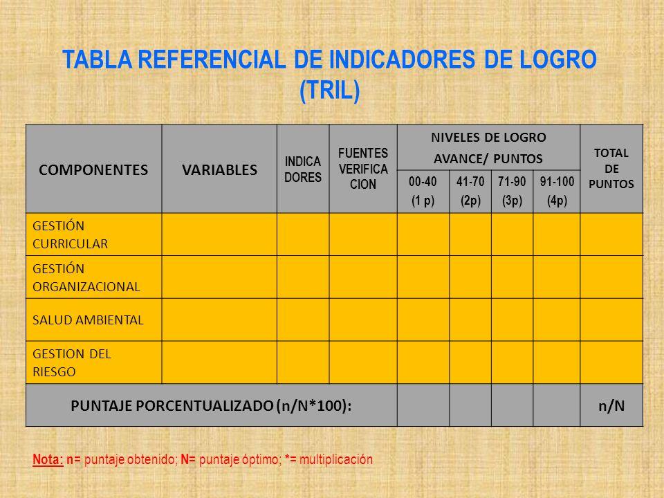 COMPONENTESVARIABLES INDICA DORES FUENTES VERIFICA CION NIVELES DE LOGRO AVANCE/ PUNTOS TOTAL DE PUNTOS 00-40 (1 p) 41-70 (2p) 71-90 (3p) 91-100 (4p)