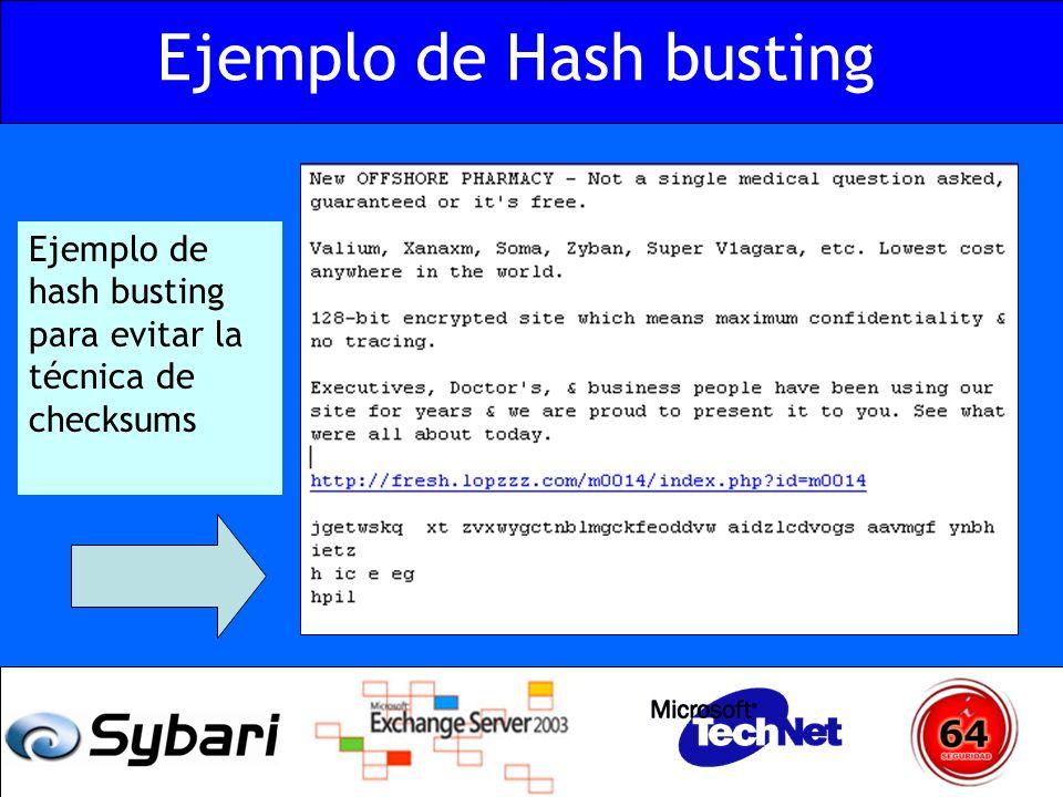 Ejemplo de hash busting para evitar la técnica de checksums Ejemplo de Hash busting