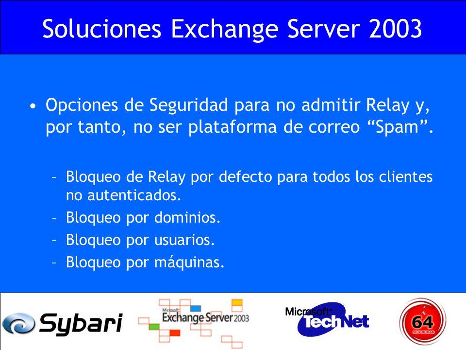 Soluciones Exchange Server 2003 Opciones de Seguridad para no admitir Relay y, por tanto, no ser plataforma de correo Spam. –Bloqueo de Relay por defe