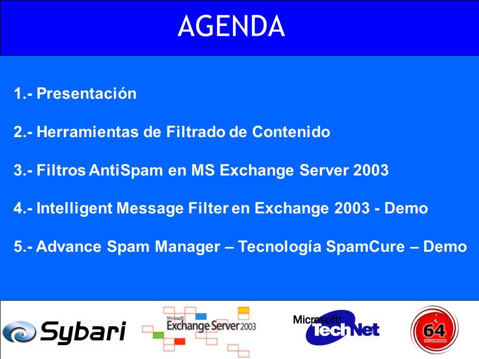 AGENDA 1.- Presentación 2.- Herramientas de Filtrado de Contenido 3.- Filtros AntiSpam en MS Exchange Server 2003 4.- Intelligent Message Filter en Ex