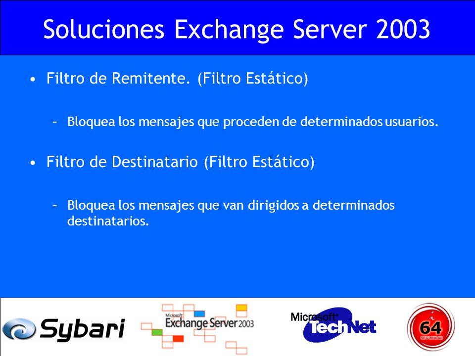 Soluciones Exchange Server 2003 Filtro de Remitente. (Filtro Estático) –Bloquea los mensajes que proceden de determinados usuarios. Filtro de Destinat