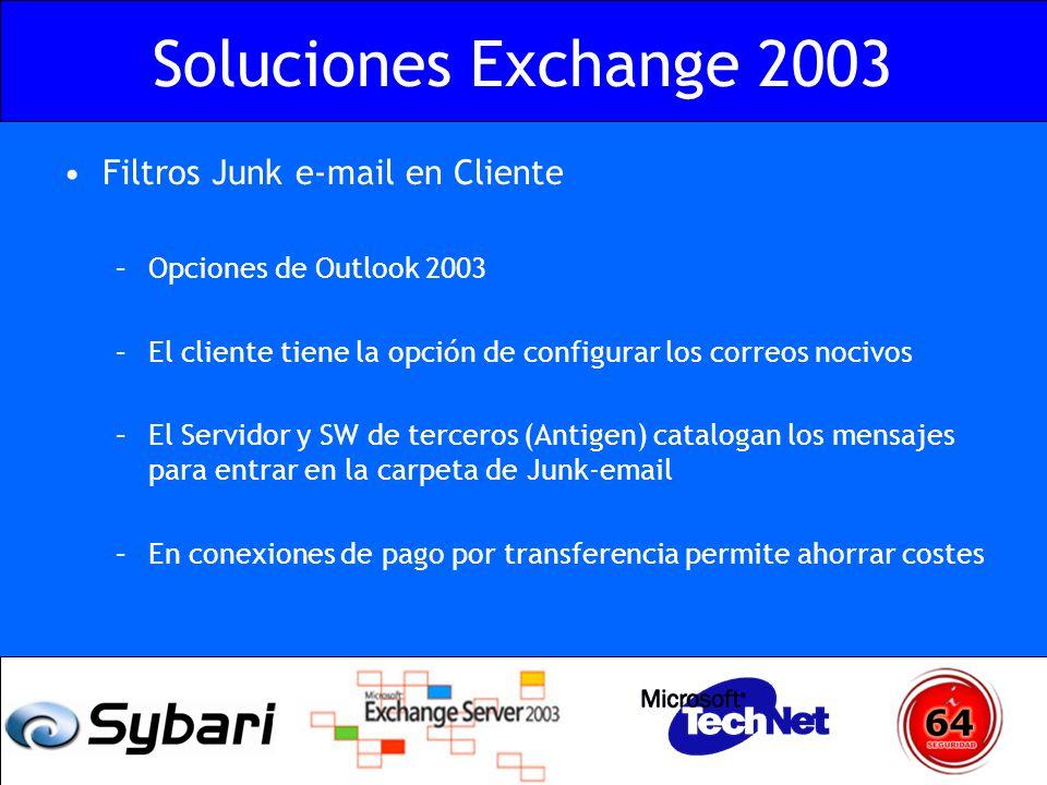 Soluciones Exchange 2003 Filtros Junk e-mail en Cliente –Opciones de Outlook 2003 –El cliente tiene la opción de configurar los correos nocivos –El Se