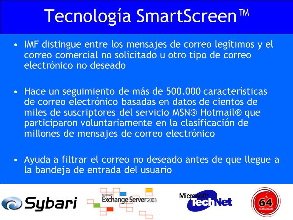 Tecnología SmartScreen IMF distingue entre los mensajes de correo legítimos y el correo comercial no solicitado u otro tipo de correo electrónico no d
