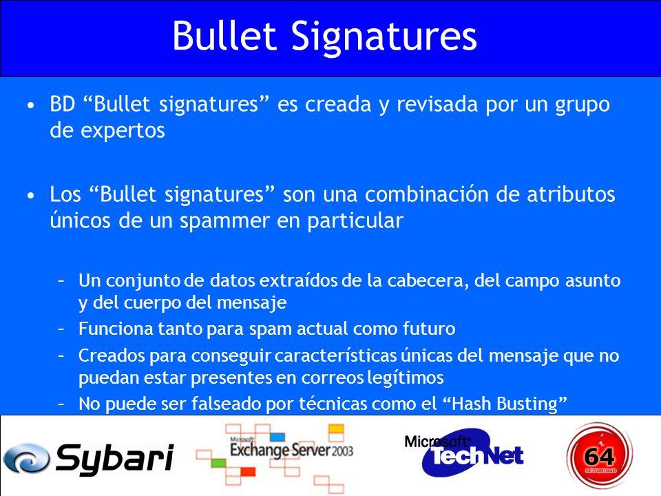 Bullet Signatures BD Bullet signatures es creada y revisada por un grupo de expertos Los Bullet signatures son una combinación de atributos únicos de