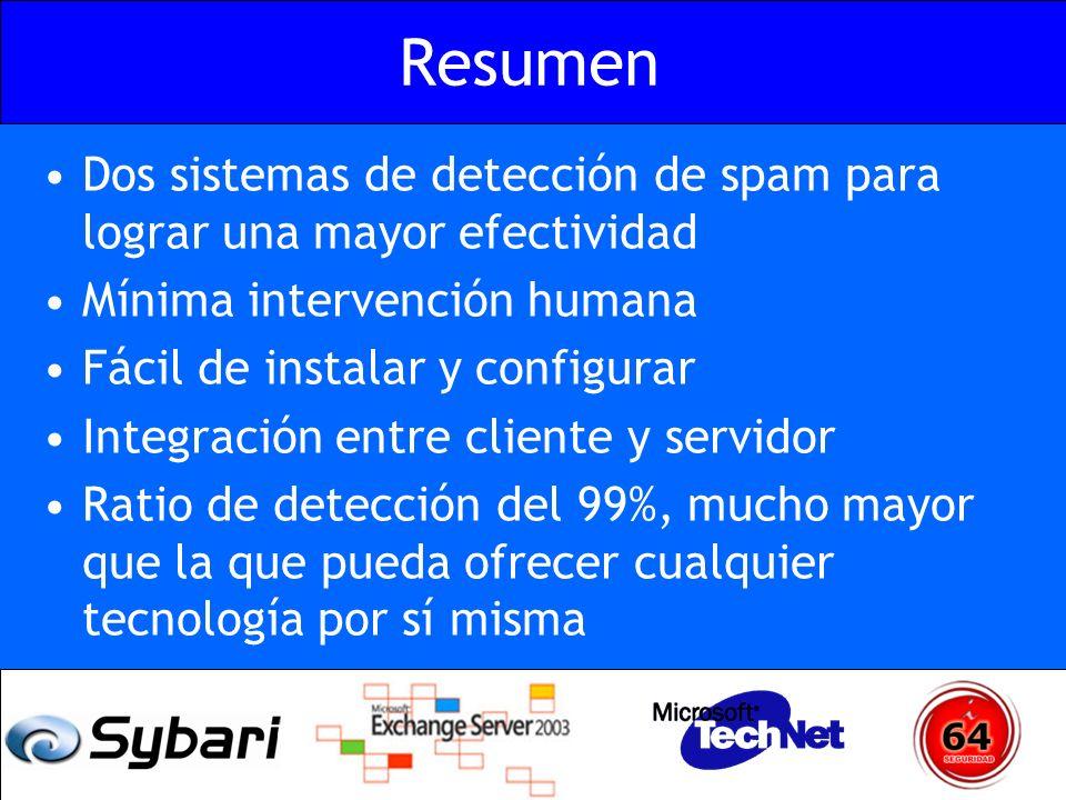 Resumen Dos sistemas de detección de spam para lograr una mayor efectividad Mínima intervención humana Fácil de instalar y configurar Integración entr