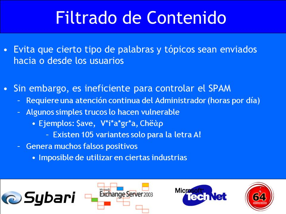 Problemática Técnica Relay Pasarela SMTP Exchange Front-End Relay Buzones Exchange Back-End No Relay