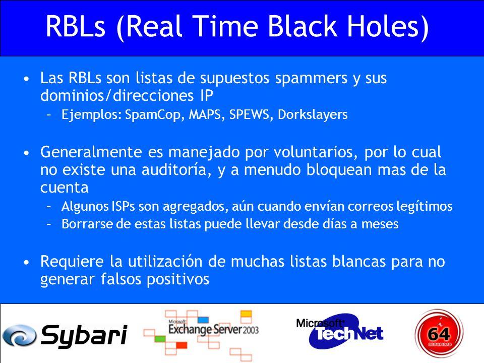 RBLs (Real Time Black Holes) Las RBLs son listas de supuestos spammers y sus dominios/direcciones IP –Ejemplos: SpamCop, MAPS, SPEWS, Dorkslayers Gene