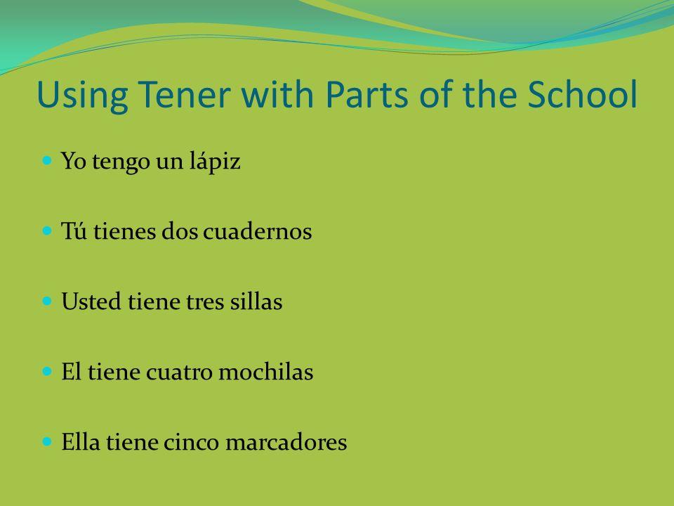Using Tener with Parts of the School Yo tengo un lápiz Tú tienes dos cuadernos Usted tiene tres sillas El tiene cuatro mochilas Ella tiene cinco marca