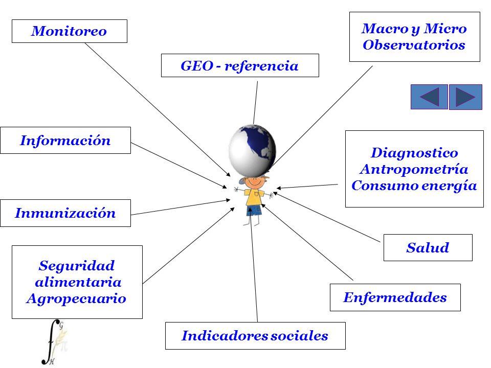 Monitoreo Macro y Micro Observatorios GEO - referencia Diagnostico Antropometría Consumo energía Información Seguridad alimentaria Agropecuario Salud