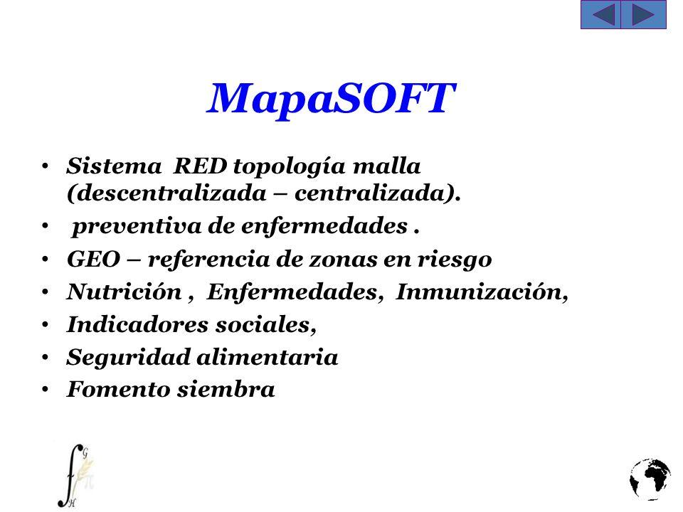 MapaSOFT Sistema RED topología malla (descentralizada – centralizada). preventiva de enfermedades. GEO – referencia de zonas en riesgo Nutrición, Enfe
