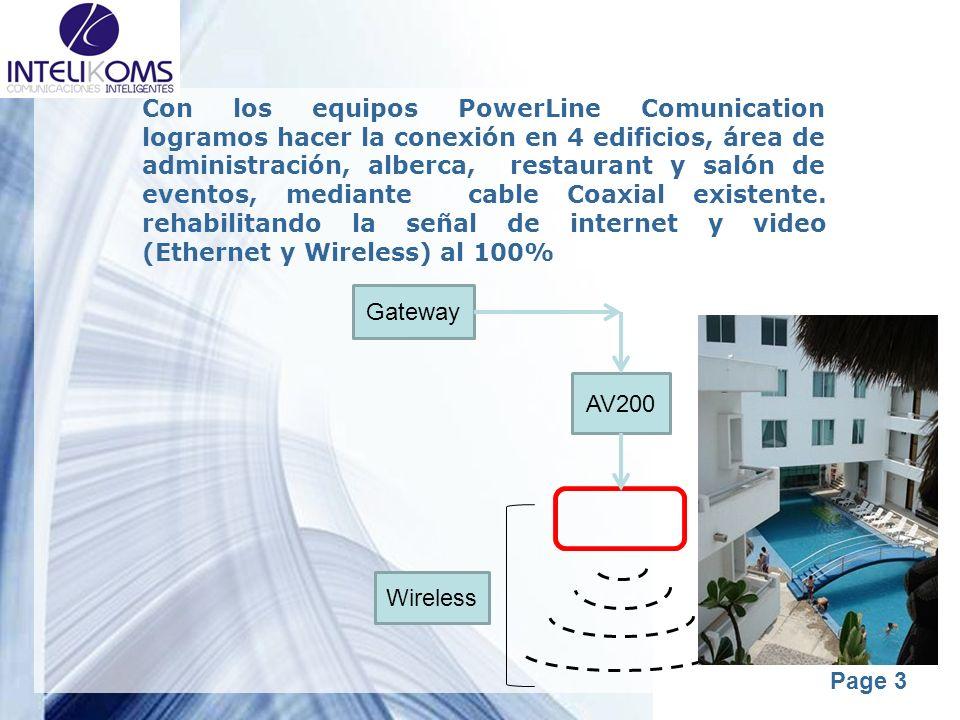 Powerpoint Templates Page 3 Con los equipos PowerLine Comunication logramos hacer la conexión en 4 edificios, área de administración, alberca, restaur