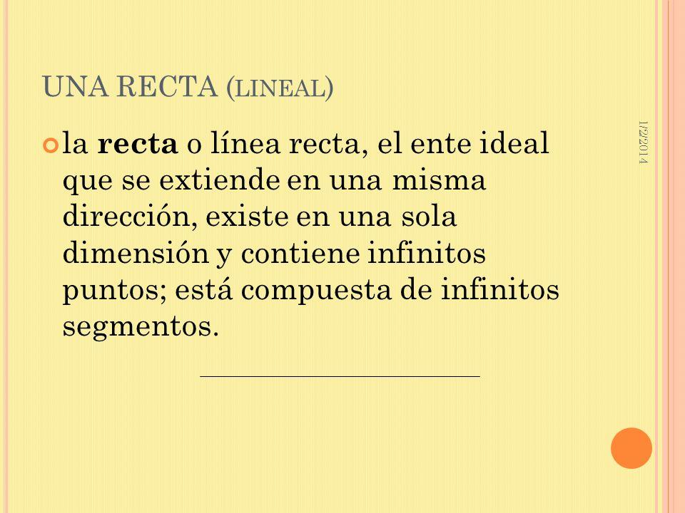 1/2/2014 UNA RECTA ( LINEAL ) la recta o línea recta, el ente ideal que se extiende en una misma dirección, existe en una sola dimensión y contiene in