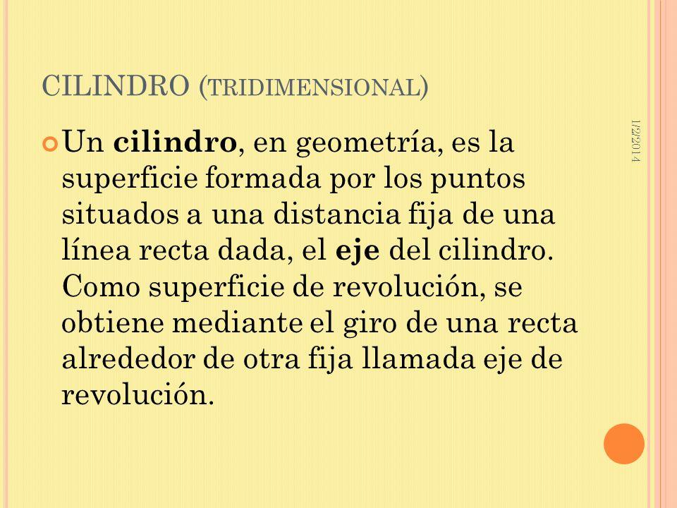 1/2/2014 CILINDRO ( TRIDIMENSIONAL ) Un cilindro, en geometría, es la superficie formada por los puntos situados a una distancia fija de una línea rec