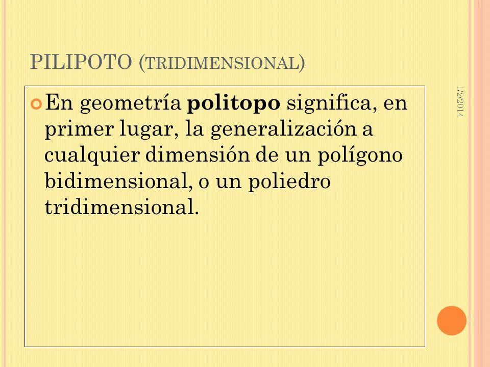 1/2/2014 PILIPOTO ( TRIDIMENSIONAL ) En geometría politopo significa, en primer lugar, la generalización a cualquier dimensión de un polígono bidimens