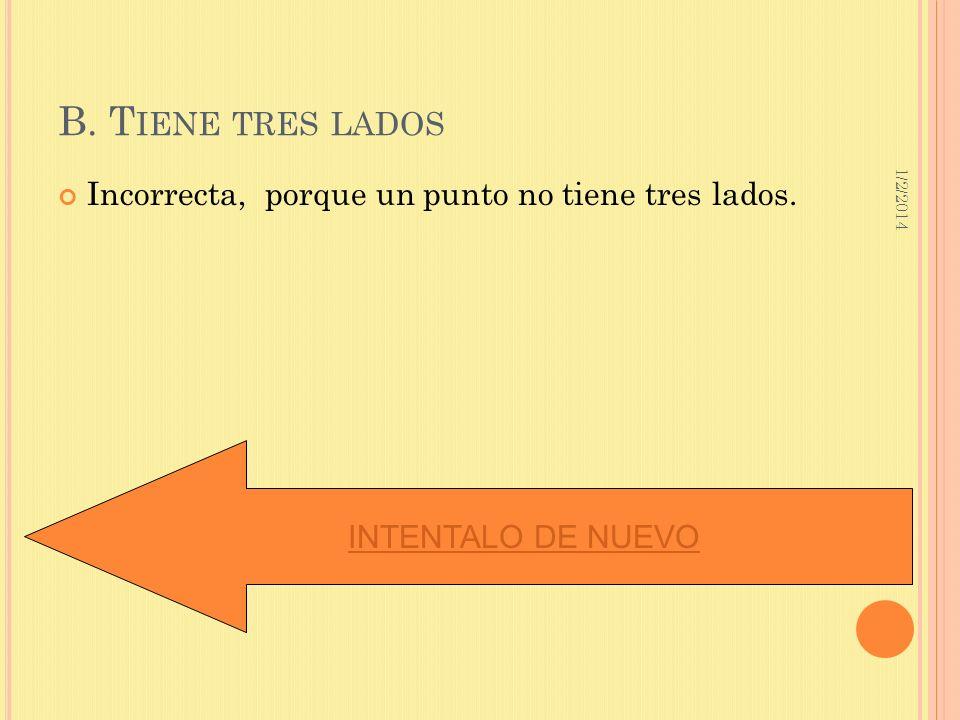 1/2/2014 B. T IENE TRES LADOS Incorrecta, porque un punto no tiene tres lados. INTENTALO DE NUEVO