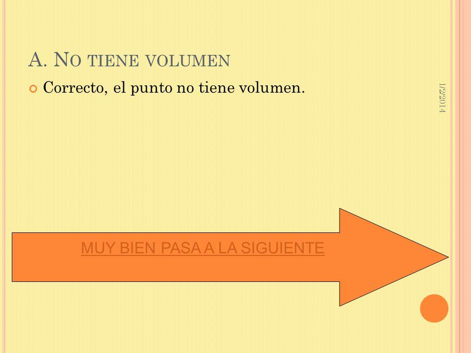 1/2/2014 A. N O TIENE VOLUMEN Correcto, el punto no tiene volumen. MUY BIEN PASA A LA SIGUIENTE