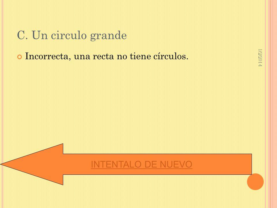1/2/2014 C. Un circulo grande Incorrecta, una recta no tiene círculos. INTENTALO DE NUEVO