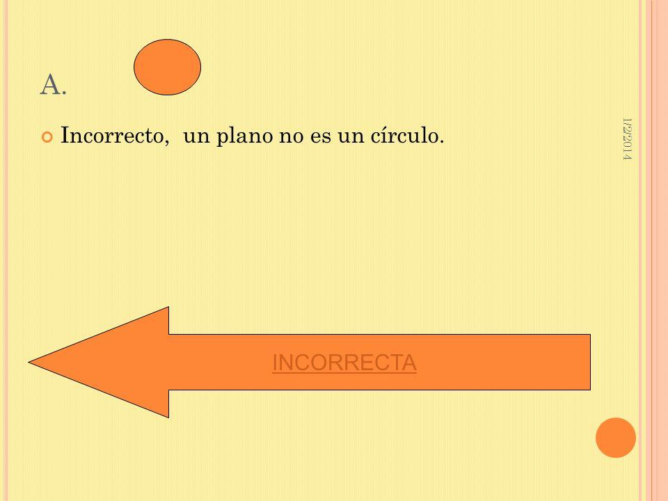 1/2/2014 A. Incorrecto, un plano no es un círculo. INCORRECTA