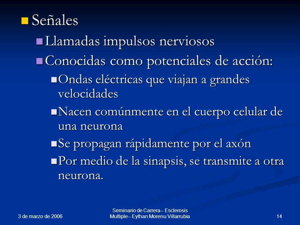 3 de marzo de 2006 14 Seminario de Carrera-- Esclerosis Multiple-- Eythan Morenu Villarrubia Señales Señales Llamadas impulsos nerviosos Llamadas impu