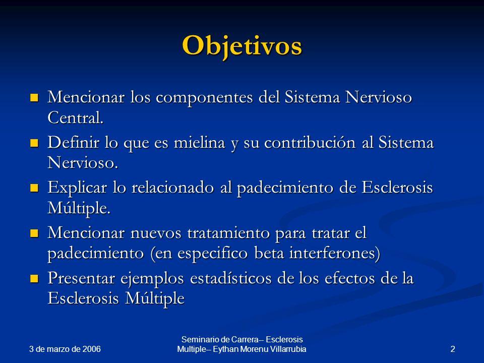 3 de marzo de 2006 2 Seminario de Carrera-- Esclerosis Multiple-- Eythan Morenu Villarrubia Objetivos Mencionar los componentes del Sistema Nervioso C