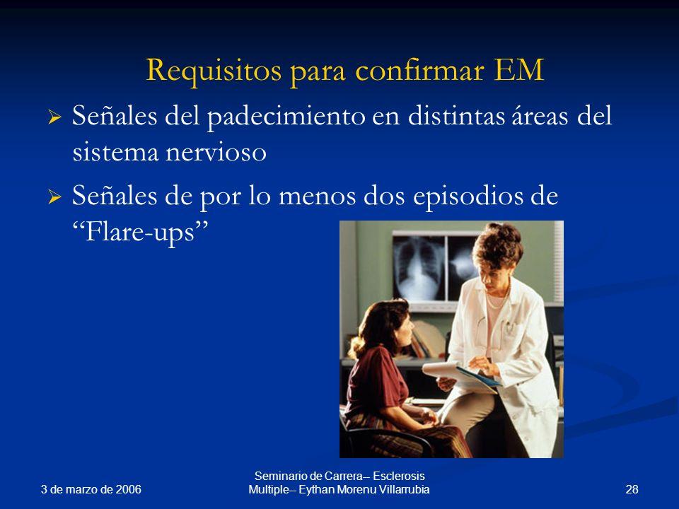 3 de marzo de 2006 28 Seminario de Carrera-- Esclerosis Multiple-- Eythan Morenu Villarrubia Requisitos para confirmar EM Señales del padecimiento en