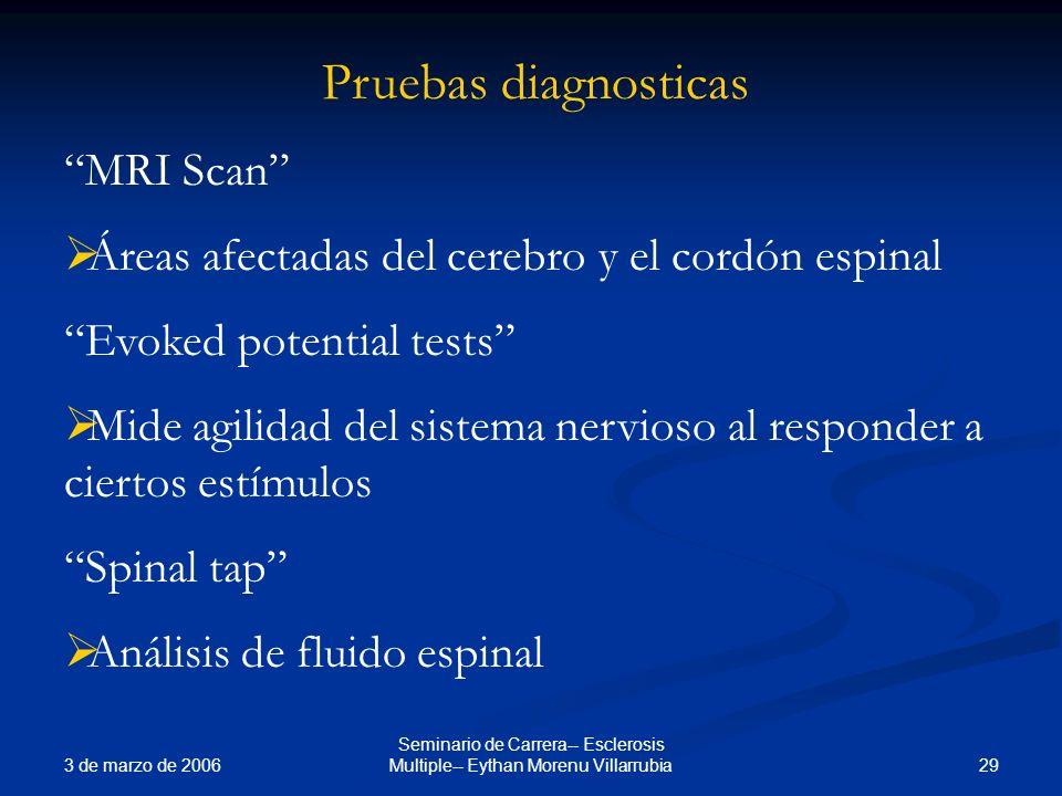3 de marzo de 2006 29 Seminario de Carrera-- Esclerosis Multiple-- Eythan Morenu Villarrubia Pruebas diagnosticas MRI Scan Áreas afectadas del cerebro