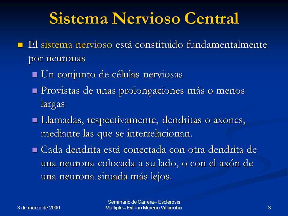 3 de marzo de 2006 3 Seminario de Carrera-- Esclerosis Multiple-- Eythan Morenu Villarrubia Sistema Nervioso Central El sistema nervioso está constitu