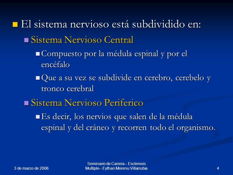 3 de marzo de 2006 4 Seminario de Carrera-- Esclerosis Multiple-- Eythan Morenu Villarrubia El sistema nervioso está subdividido en: El sistema nervio