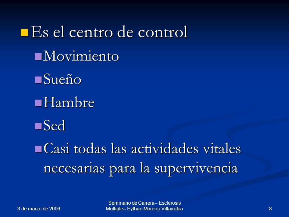 3 de marzo de 2006 8 Seminario de Carrera-- Esclerosis Multiple-- Eythan Morenu Villarrubia Es el centro de control Es el centro de control Movimiento