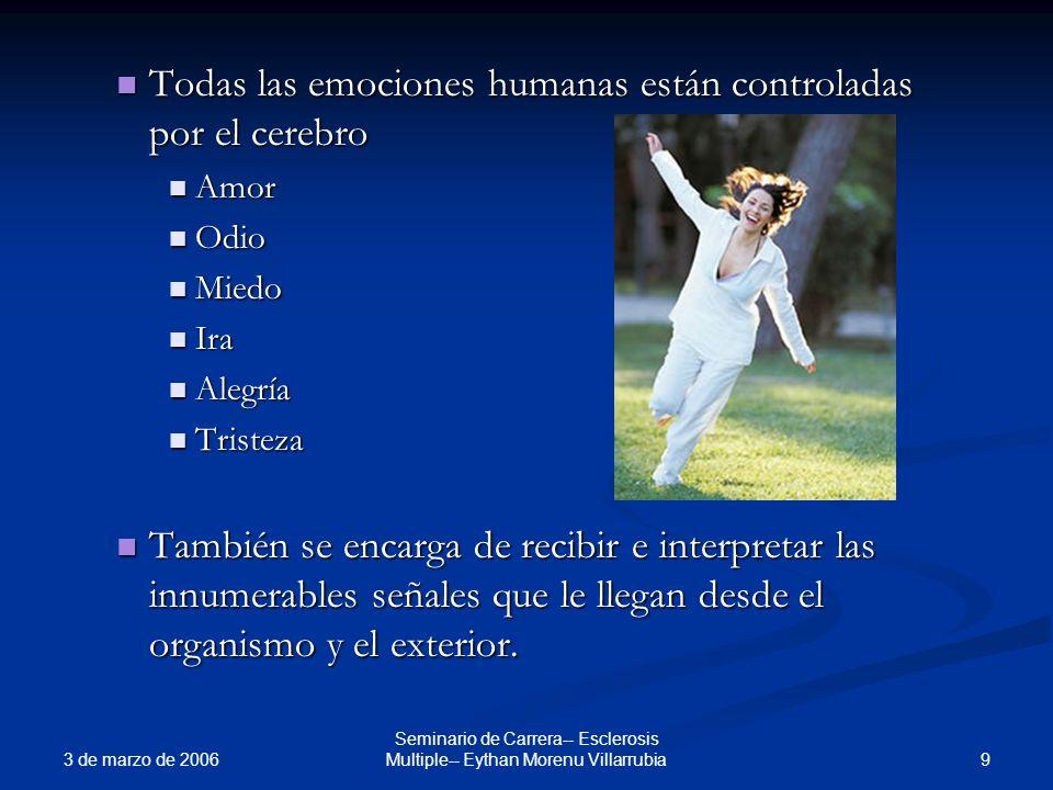 3 de marzo de 2006 9 Seminario de Carrera-- Esclerosis Multiple-- Eythan Morenu Villarrubia Todas las emociones humanas están controladas por el cereb