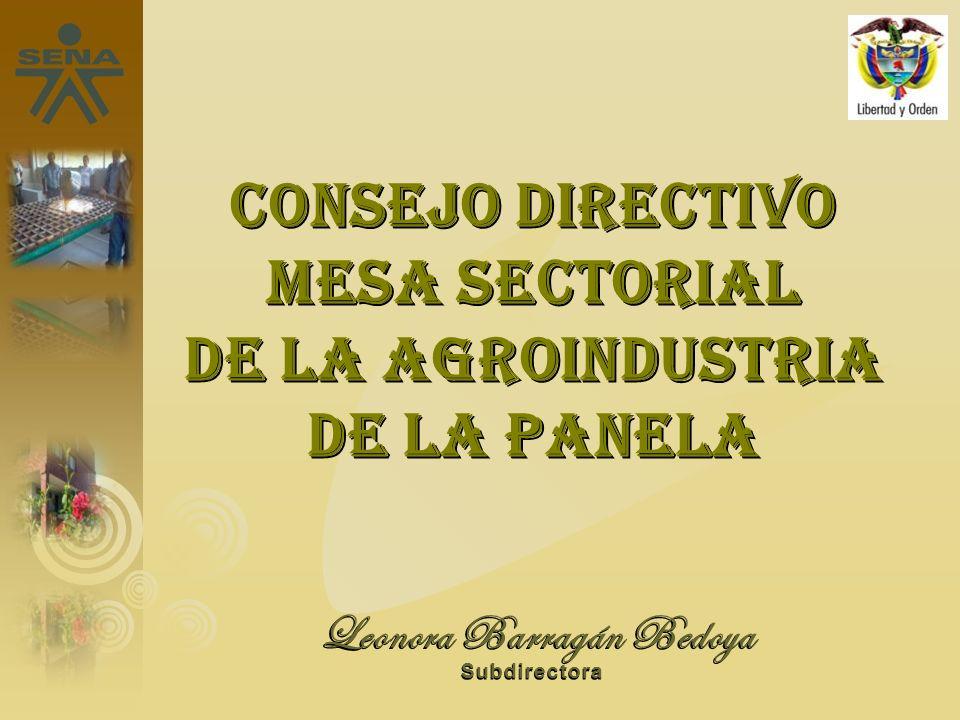 Leonora Barragán Bedoya Subdirectora Consejo directivo Mesa sectorial de la agroindustria de la panela