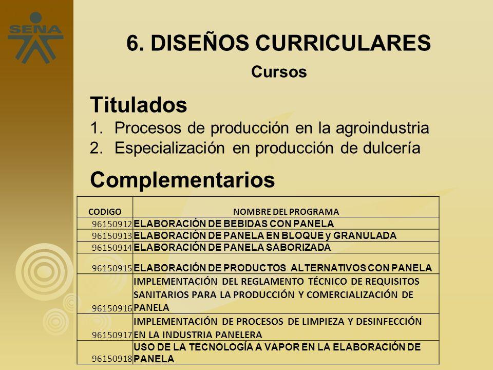 Operario en 6. DISEÑOS CURRICULARES Cursos Titulados 1.Procesos de producción en la agroindustria 2.Especialización en producción de dulcería Compleme