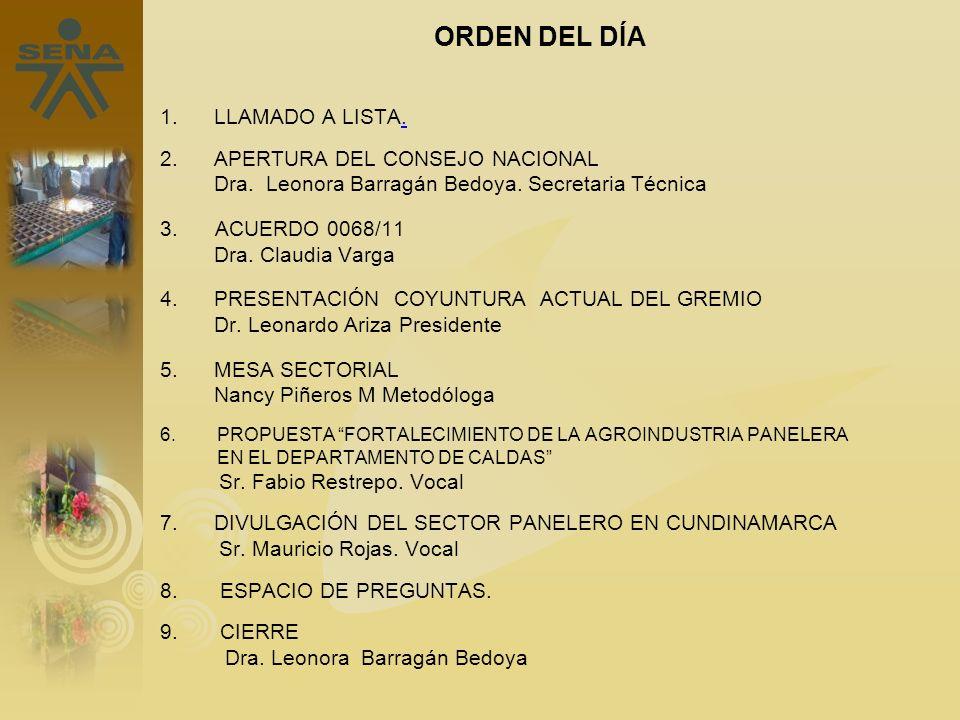 ORDEN DEL DÍA 1. LLAMADO A LISTA.. 2. APERTURA DEL CONSEJO NACIONAL Dra. Leonora Barragán Bedoya. Secretaria Técnica 3. ACUERDO 0068/11 Dra. Claudia V