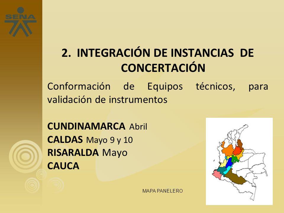 2. INTEGRACIÓN DE INSTANCIAS DE CONCERTACIÓN Conformación de Equipos técnicos, para validación de instrumentos CUNDINAMARCA Abril CALDAS Mayo 9 y 10 R