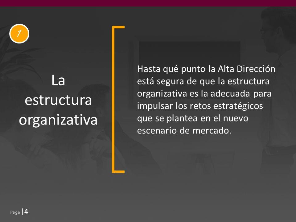 Page |4 La estructura organizativa Hasta qué punto la Alta Dirección está segura de que la estructura organizativa es la adecuada para impulsar los retos estratégicos que se plantea en el nuevo escenario de mercado.