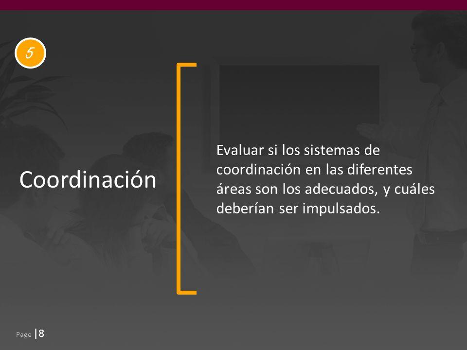 Page |8 Coordinación Evaluar si los sistemas de coordinación en las diferentes áreas son los adecuados, y cuáles deberían ser impulsados.