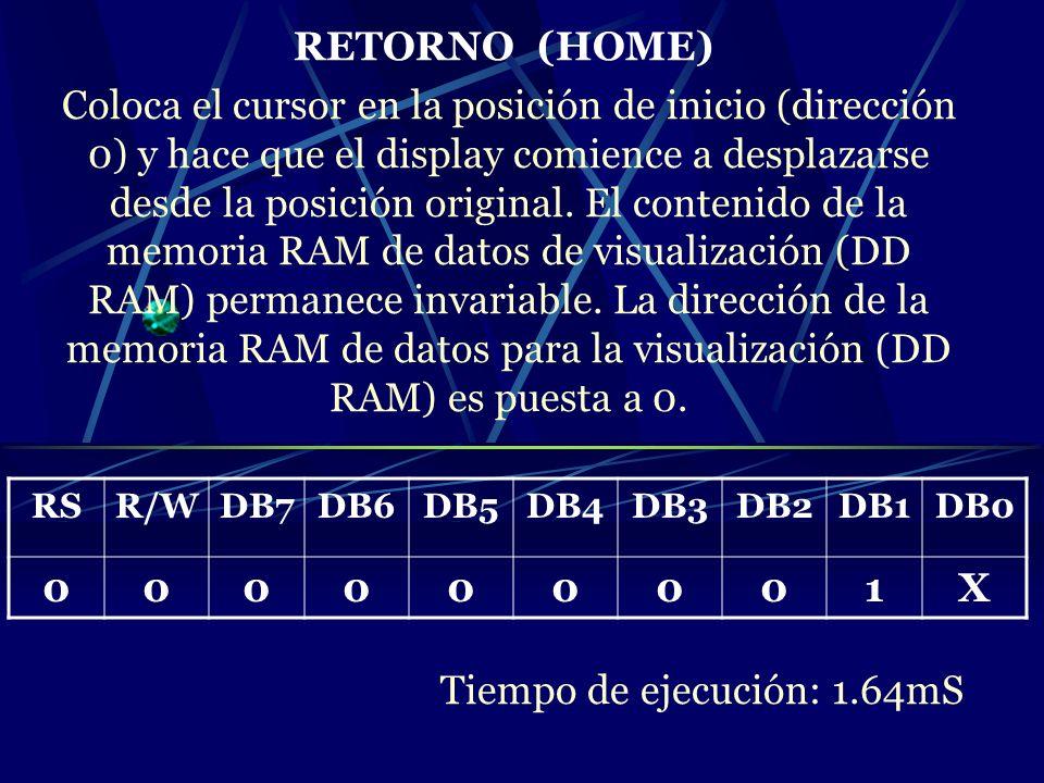 RETORNO (HOME) Coloca el cursor en la posición de inicio (dirección 0) y hace que el display comience a desplazarse desde la posición original. El con