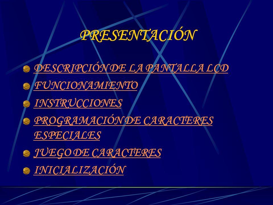 DIRECCIONAMIENTO DE LA CG-RAM ( SET THE CG RAM ADDRESS) El módulo LCD además de tener definidos todo el conjunto de caracteres ASCII, permite al usuario definir 4 u 8 caracteres gráficos.