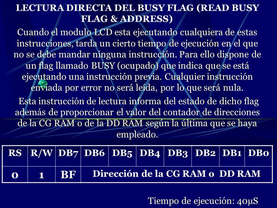 LECTURA DIRECTA DEL BUSY FLAG (READ BUSY FLAG & ADDRESS) Cuando el modulo LCD esta ejecutando cualquiera de estas instrucciones, tarda un cierto tiemp