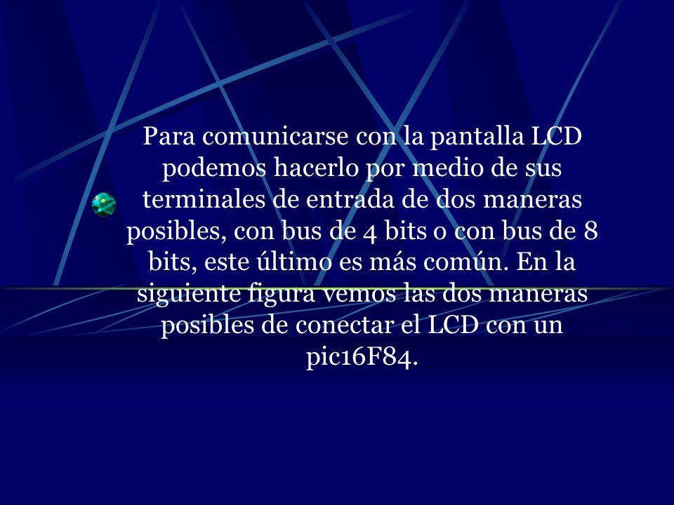 Para comunicarse con la pantalla LCD podemos hacerlo por medio de sus terminales de entrada de dos maneras posibles, con bus de 4 bits o con bus de 8