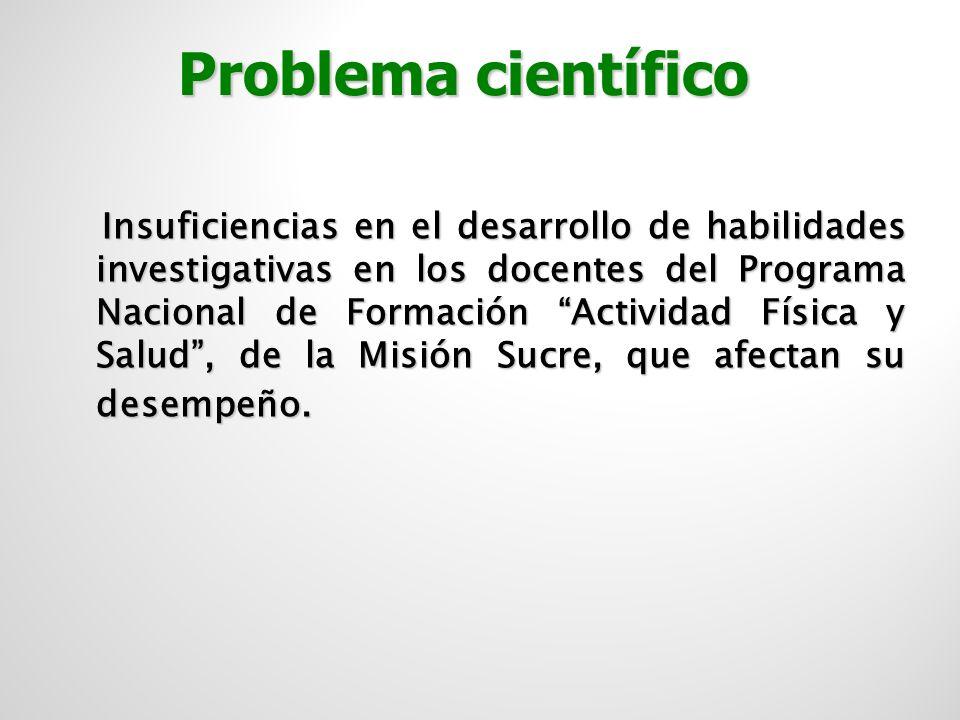 Caracterización del desempeño de los docentes del Programa Nacional de Formación Actividad Física y Salud de la Misión Sucre en el Estado Cojedesen el desarrollo de las habilidades investigativas.