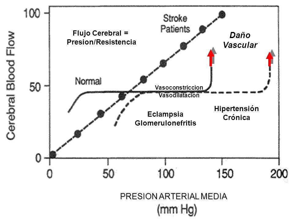 Flujo Cerebral = Presion/Resistencia Daño Vascular Eclampsia Glomerulonefritis Hipertensión Crónica Vasoconstriccion Vasodilatacion PRESION ARTERIAL M