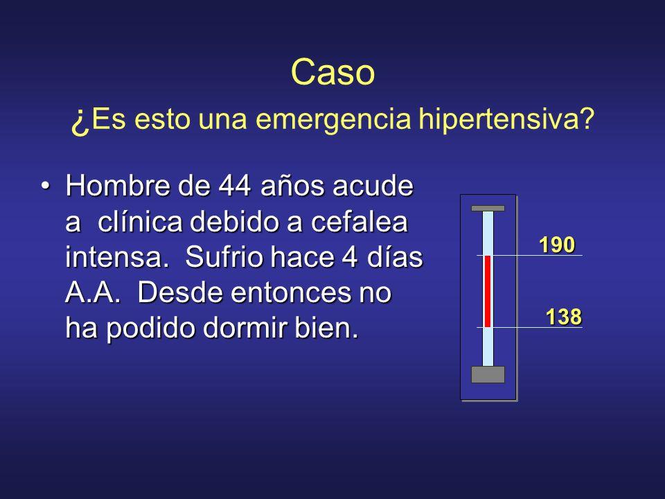 Caso ¿ Es esto una emergencia hipertensiva? Hombre de 44 años acude a clínica debido a cefalea intensa. Sufrio hace 4 días A.A. Desde entonces no ha p